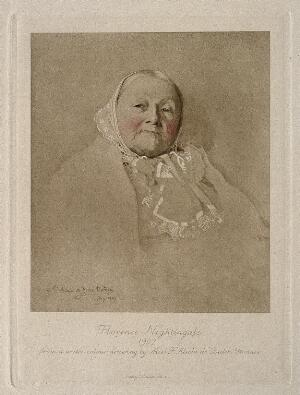 view Florence Nightingale. Photogravure by E. Walker, 1887, after F. Alicia de Biden Footner, 1907.