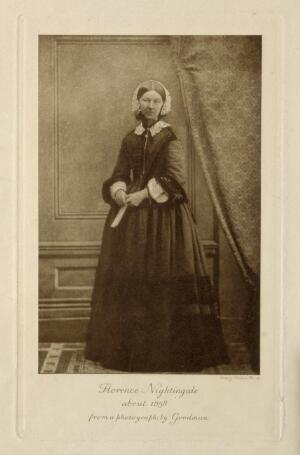 view Florence Nightingale. Photogravure by E. Walker after Goodman, 1858.