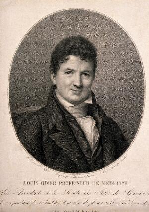view Louis Odier. Stipple engraving by N. Schenker after F. C. Massot.