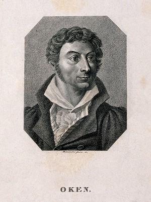 view Lorenz Oken [Okenfuss]. Stipple engraving by J. Rosmaesler, senior after J. W. C. Roux.