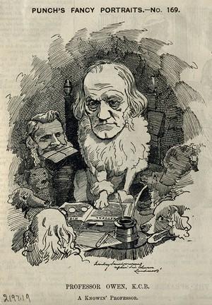 view Sir Richard Owen. Wood engraving by L. Sambourne after Sir E. Landseer.