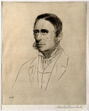 view Sir James Paget. Etching by A. W. Turnbull.