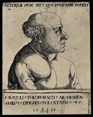 view Aureolus Theophrastus Bombastus von Hohenheim [Paracelsus]. Reproduction, 1927, of etching by A. Hirschvogel, 1538.