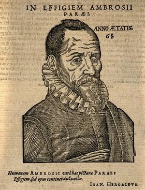 view Ambroise Paré. Woodcut, 1612.