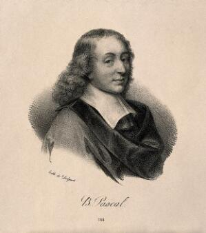 view Blaise Pascal. Lithograph after G. Edelinck after F. Quesnel, junior.