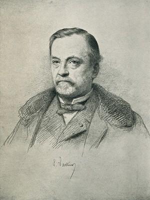 view Louis Pasteur. Photogravure, 1896, after R. Lehmann, 1884.