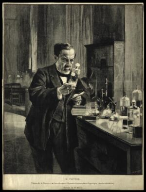 view Louis Pasteur. Wood engraving by C. Baude after A. G. A. Edelfelt, 1885.