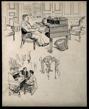 view Louis Pasteur. Pen drawing, 1895.