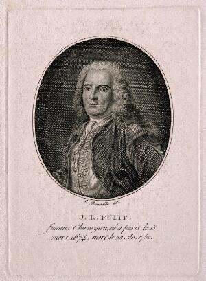 view Jean-Louis Petit. Line engraving by F. Bonneville after L. Vigée.