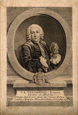 view Jean Antoine Peyssonnel. Line engraving by E. Fessard after J.-C. Allais.