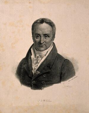 view Philippe Pinel. Lithograph by P. R. Vignéron.