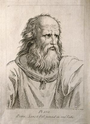 view Plato. Etching by D. Cunego, 1783, after R. Mengs after Raphael.