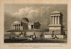 view John Playfair's monument and the New Observatory on Calton Hill, Edinburgh. Line engraving by A. Cruse after T. H. Shepherd.