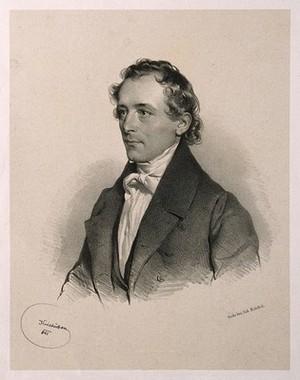 view Adolf Martin Pleischl. Lithograph by J. Kriehuber, 1841.