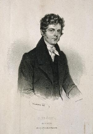 view Simon Plössl. Lithograph by J. Kriehuber, 1836.