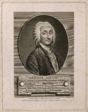 view Antoine, Baron Portal. Line engraving by J. P. Dupin, junior, 1782, after A. Pujos, 1781.