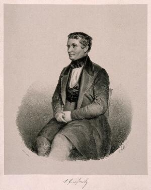view Vincenz Priessnitz. Lithograph by Goebel, 1845.