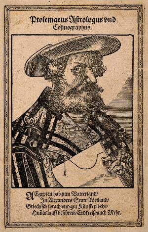 view Claudius Ptolemaeus (Ptolemy). Woodcut by T. Stimmer, 1587.