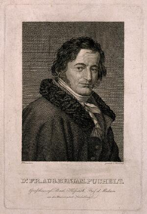 view Friedrich August Benjamin Puchelt. Line engraving by F. Rosmaesler after J.W.C. Roux, 1829.