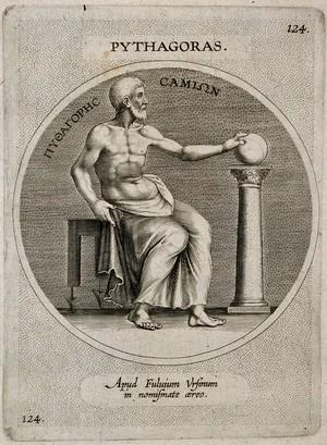 view Pythagoras. Line engraving.