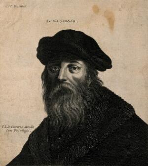 view Pythagoras. Etching by F. L. D. Ciartres (F. Langlois) after C. Vignon.