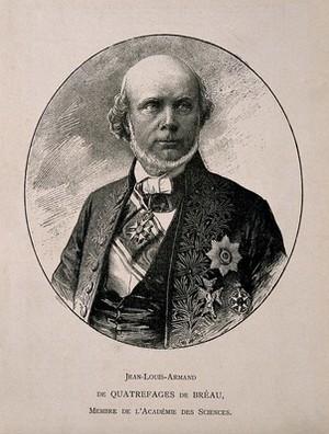 view Jean-Louis-Armand de Quatrefages de Bréau. Wood engraving.