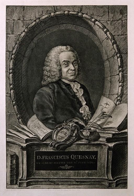 François Quesnay. Reproduction of engraving by J. C. François, 1767, after J. M. Frédou.