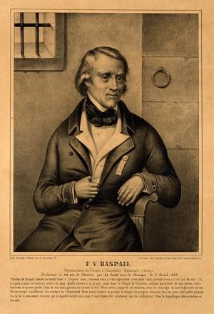 view François Vincent Raspail. Lithograph, 1849.