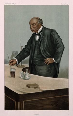 view John William Strutt, 3rd Baron Rayleigh. Colour lithograph by F. T. Dalton, 1899.