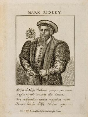 view Mark Ridley. Line engraving.