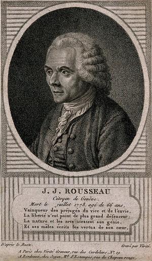 view Jean-Jacques Rousseau. Stipple engraving by J.-B. Vérité aftera bust.