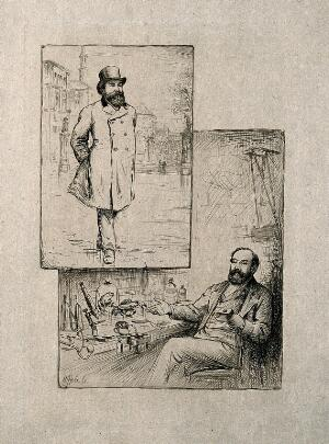 view William Rutherford. Etching by W. Hole, 1884.