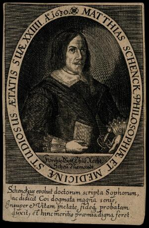 view Matthias Schenck, aged 24, wearing a sword and holding a book in his right hand. Line engraving.