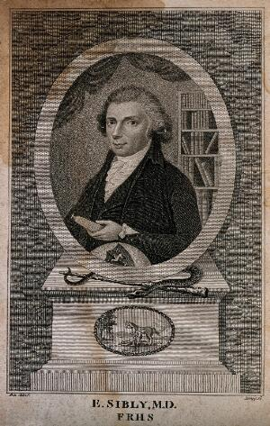 view Ebenezer Sibly. Stipple engraving by W. J. Leney, 1794 (?) after Pale.