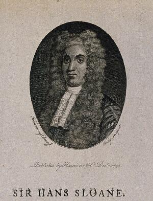 view Sir Hans Sloane. Line engraving by Wray, 1795, after T. Murray, 1725.