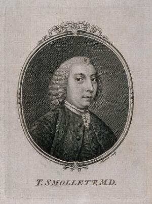 view Tobias George Smollett. Line engraving by F. Aliamet, 1757.