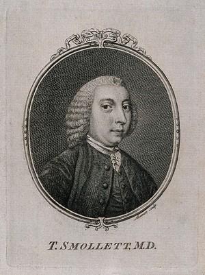 view Tobias George Smollett. Line engraving by F. Aliamet, 1757.