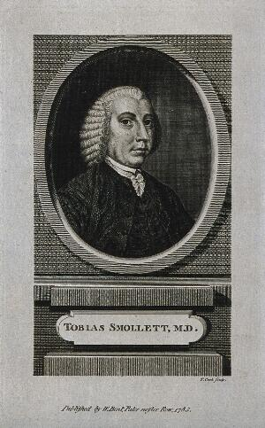 view Tobias George Smollett. Line engraving by T. Cook, 1785.