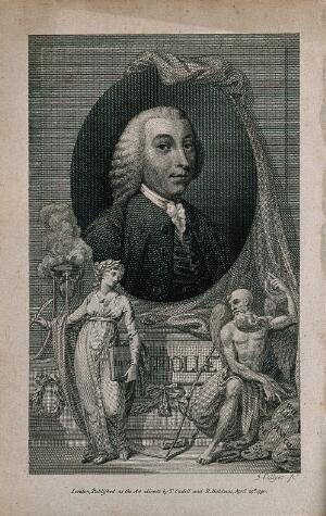 view Tobias George Smollett. Line engraving by J. Collyer, 1790.