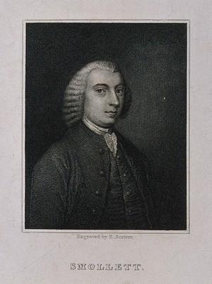 view Tobias George Smollett. Stipple engraving by E Scriven.