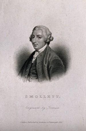 view Tobias George Smollett. Stipple engraving by S. Freeman after Sir J. Reynolds.