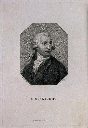 view Tobias George Smollett. Stipple engraving by F. W. Bollinger after W. Ridley.