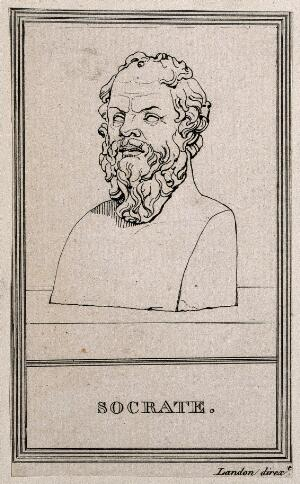 view Socrates. Line engraving.