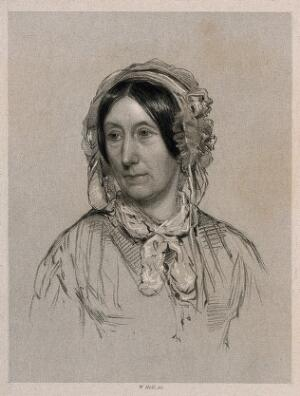 view Mary Somerville [Fairfax]. Stipple engraving by W. Holl, 1858, after J. R. Swinton, 1848.