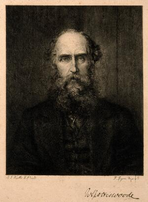 view William Spottiswoode. Etching by P. Rajon after G. F. Watts.
