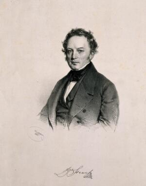 view Franz Strauss. Lithograph by J. Kriehuber, 1842.