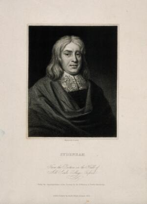 view Thomas Sydenham. Engraving by E. Scriven after J. Jackson after Mary Beale.