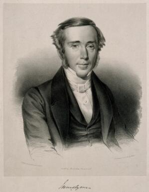 view James Syme. Lithograph by W. Stewart, 1845, after himself.