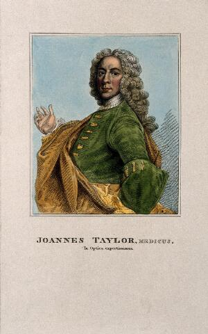 view John Taylor. Coloured stipple engraving after P. Ryche.