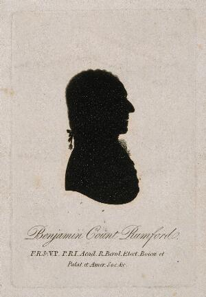 view Sir Benjamin Thompson, Count von Rumford. Aquatint silhouette.